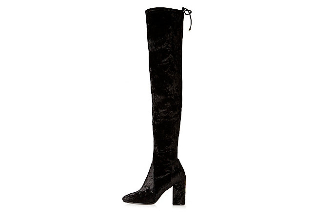 river island black velvet over the knee boots