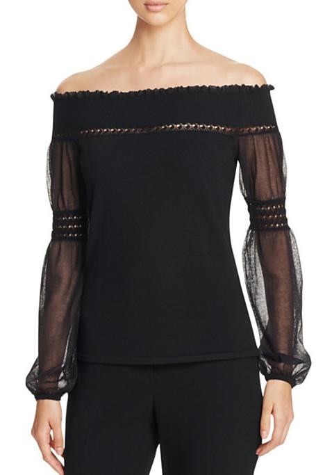 Elie Tahari - Rita Off-the-Shoulder Merino Wool Sweater