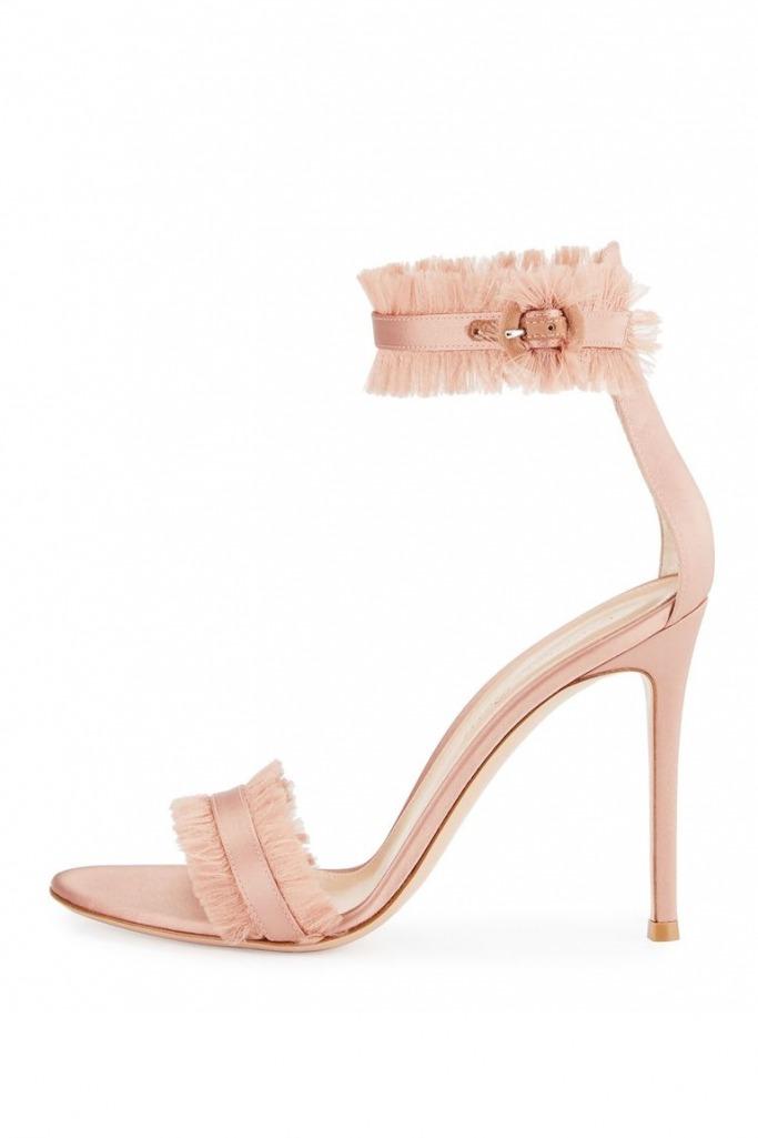Fringed Silk Portofino Sandal in Nude, GIANVITO ROSSI, $875