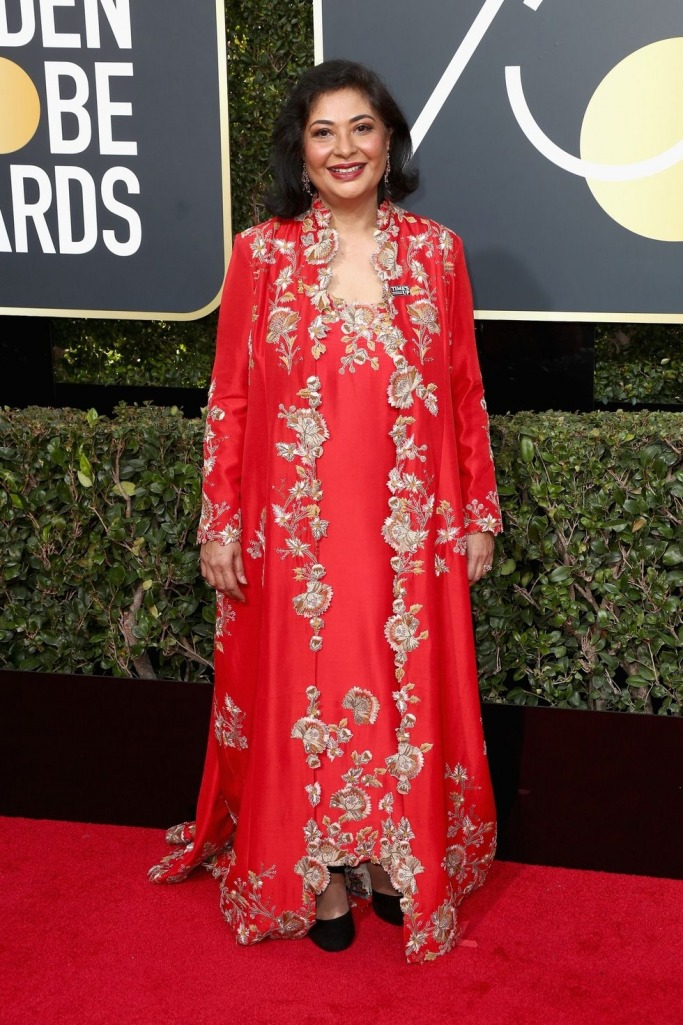 Meher Tatna wore red at the Golden Globes