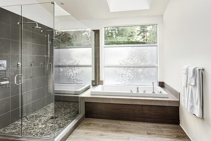 Stone and wood interior bathroom