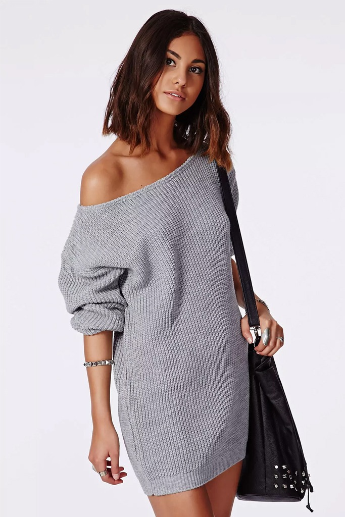 Missguided - Off shoulder Grey knitted Sweater Dress