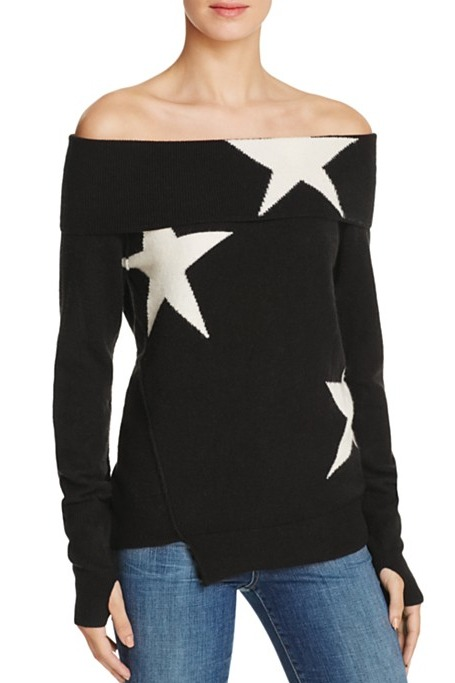 Pam & Gela - Star Intarsia Off-The-Shoulder Sweater