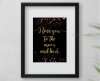Wall Decor-A4 Art Print -I Love you to the Moon and Back