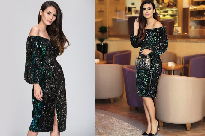 Deema Al Asadi in her Sequined off the Shoulder Dress